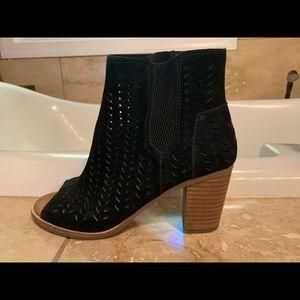 Black Peep Toe Toms Booties 6.5
